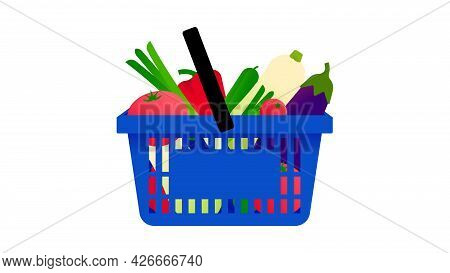 Shopping Basket With Fresh Vegetables. Blue Plastic Cart With Assorted Grocery Products - Tomatoes,