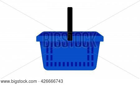 Shopping Cart Isolated On White Background. Empty Blue Plastic Basket. Modern Vector Illustration In
