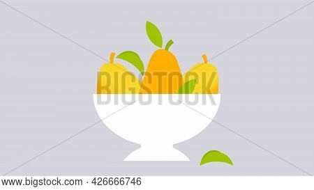 Yellow Pears In Fruit Bowl. Minimal Style Seasonal Fruits. Abstract Illustration For Print, Cover, P