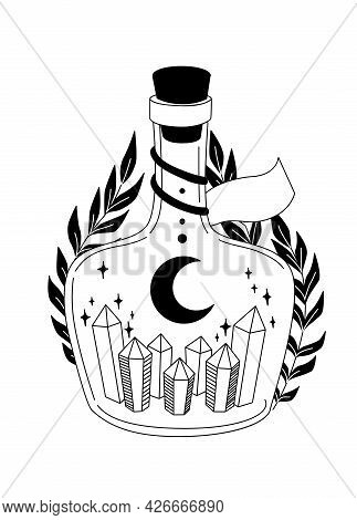 Magic Elixir With Moon And Stars. Bottle With Crystals. Witchcraft Vector Black And White Illustrati