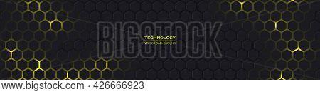 Dark Gray And Yellow Horizontal Hexagonal Technology Abstract Vector Background. Yellow Bright Energ