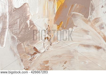 Art Abstract  acrylic and watercolor  smear blot painting. Beige, brown and gold Color canvas texture horizontal background.