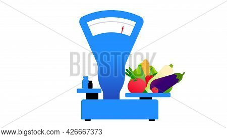 The Old Fashioned Scales With Fresh Vegetables. Equipment For Farmers Market, Grocery, Street Tradin