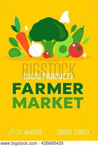 Farmer Market. Vector Illustration For Harvest Festival, Seasonal Farmer Fair. Composition Of Vegeta