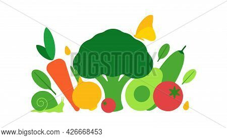 Composition Of Heap Different Vegetables On White Background. Short Collage Of Farmer Vegetables For
