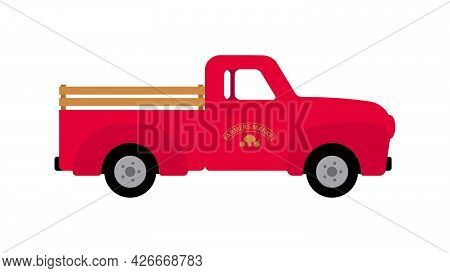 Red Pickup Truck. Classic Rural Vehicle With Trunk. Farm Life Concept. Modern Vector Auto Isolated O