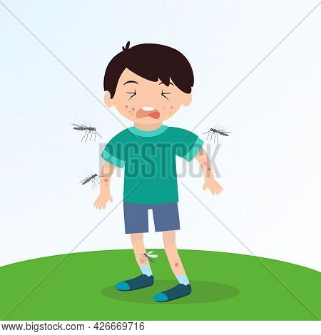 Inflammation From A Mosquito Bite On A Childs Skin, Fright And An Allergic Reaction. Cartoon Charact