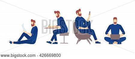 Man Character Remote Studying, Blog Journal Writing, Relaxed Freelance Working Vector Illustration.