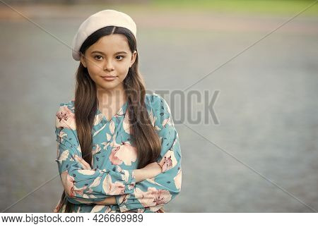 Sophisticated Fashionista Little Girl Wear Beret Hat And Fancy Dress, Refined Manners Concept