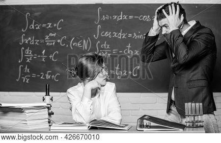 Conflict Situation. School Conflict. Demanding Lecturer. Man Unhappy Communicating. School Principal