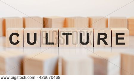 Culture Word Made With Building Blocks, Concept