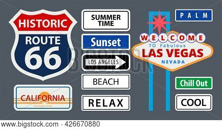 A Set Of Us Road Signs In Flat Style. Nevada, California, Sunset, Los Angeles, Route 66,summer Time,