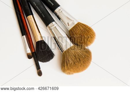 Makeup Brushes Of Different Sizes On A White Background. Set Of Brushes For Powder. Powder Brush Set