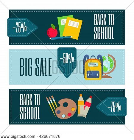 Back To School Sale Banner, Poster, Flat Vector Design. Back To School Concept. Illustration Of Scho
