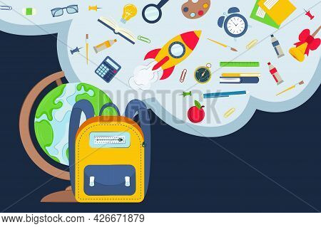 Illustration Of School Supplies. Back To School Concept. School And Education Symbols, Objects Set.