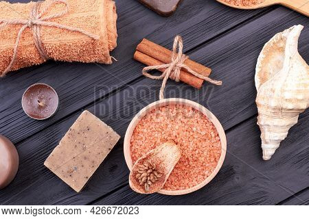 Flat Lay Accessories For Bathrom And Spa Treatment.