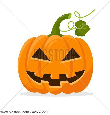 Orange Bright Pumpkin Symbol Of Halloween Isolated On White Background. Funny Pumpkin Face For Autum