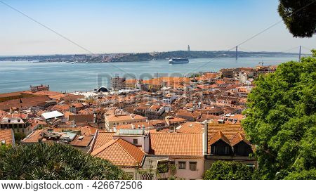 Lisbon Portugal. May 7, 2018. Red Tile Roofs Of The Old Houses Of The City Of Lisbon During A Sunny