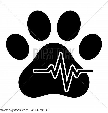 Veterinary Clinic Logo Animal Paw With Pulse On White Background