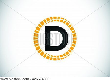 Initial D Monogram Letter Alphabet In An Abstract Sunburst Circle. Font Emblem. Sunburst Icon Sign S