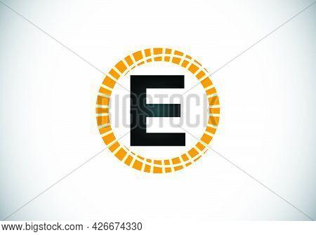 Initial E Monogram Letter Alphabet In An Abstract Sunburst Circle. Font Emblem. Sunburst Icon Sign S