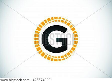 Initial G Monogram Letter Alphabet In An Abstract Sunburst Circle. Font Emblem. Sunburst Icon Sign S