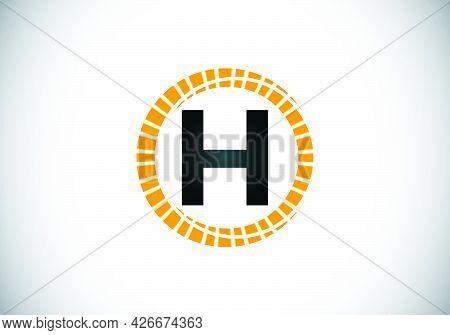 Initial H Monogram Letter Alphabet In An Abstract Sunburst Circle. Font Emblem. Sunburst Icon Sign S