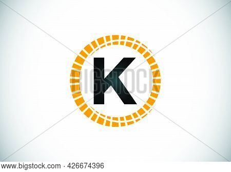 Initial K Monogram Letter Alphabet In An Abstract Sunburst Circle. Font Emblem. Sunburst Icon Sign S