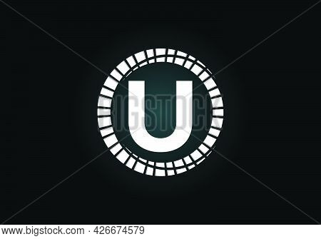 Initial U Monogram Letter Alphabet In An Abstract Sunburst Circle. Font Emblem. Sunburst Icon Sign S