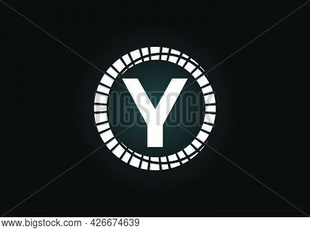 Initial Y Monogram Letter Alphabet In An Abstract Sunburst Circle. Font Emblem. Sunburst Icon Sign S