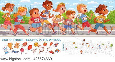 Children Run Marathon. Find 15 Hidden Objects In The Picture. Puzzle Hidden Items. Funny Cartoon Cha