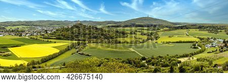 Panorama From Castle Ruin Gleiberg Medieval Castle Ruin To Vetzberg In Summertime With Beautiful Pop