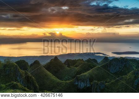 Osmena Peak Sunset With Rolling Hills Dramatic Colorful Clouds