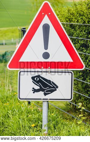 Frog Warning Sign With Black Frog Icon On White Background In Red Triangle.