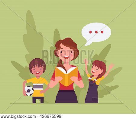 Kindergarten Book Story Reading Aloud, Female Teacher, Children. Preschool Classroom Read-aloud Inte
