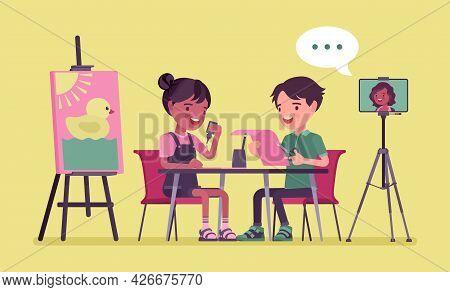 Kindergarten Online Classroom, Children In Distance Learning. Boy, Girl Having Lesson, Educational P