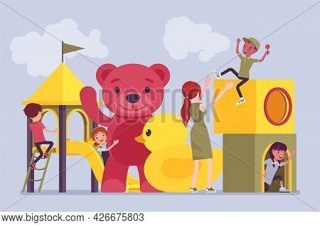 Kindergarten Playground Fun, Happy Children Playing Outdoor. Modern City Playpark, Daycare Recreatio