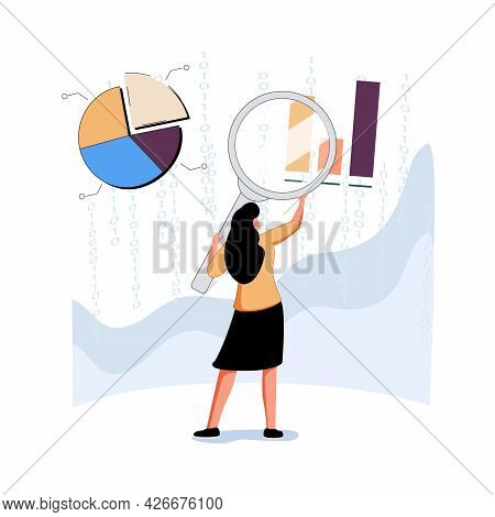 Analyst Looking At Digits And Diagrams Through Magnifying Glass. Concept Of Big Data Analysis, Busin