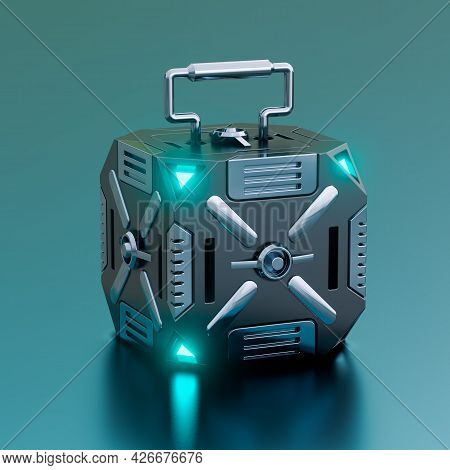 Hi-tech Futuristic Sci-fi Box Container Isolated On Metallic Background. Concept Of Military Equipme