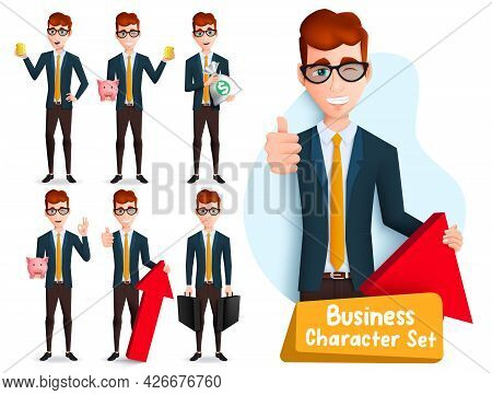 Business Man Characters Vector Set. Businessman Male Boss Character With Standing Pose And Thumbs Up