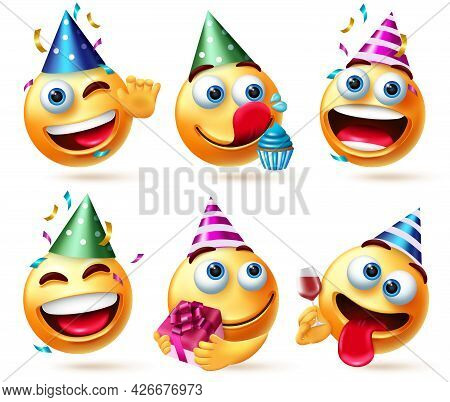 Emoji Birthday Vector Set. Emoticon Emojis In Party Hats With Gift, Cupcake And Confetti Celebration