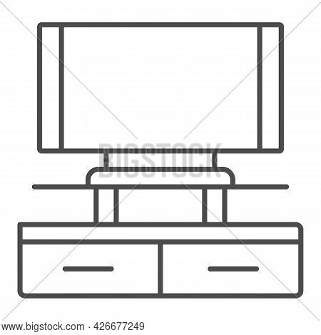 Tv On Tv Stand Thin Line Icon, Monitors And Tv Concept, Tv Set On Tv Table Vector Sign On White Back