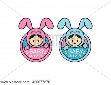 Baby On Board Sign Logo Icon. Child Safety Sticker Warning Emblem. Cute Baby Safety Design Illustrat