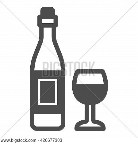 Bottle Wine And Glass Solid Icon, Winery Concept, Alcohol Beverage And Wineglass Vector Sign On Whit