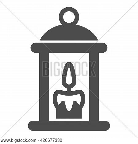 Lamp With Burning Candle Solid Icon, Lamp And Lanterns Concept, Cozy Light Lantern Vector Sign On Wh