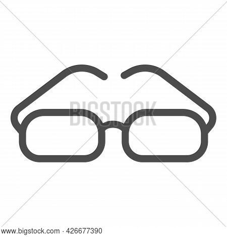 Glasses With Rectangular Lenses Line Icon, Officesyndrome Concept, Glasses Vector Sign On White Back