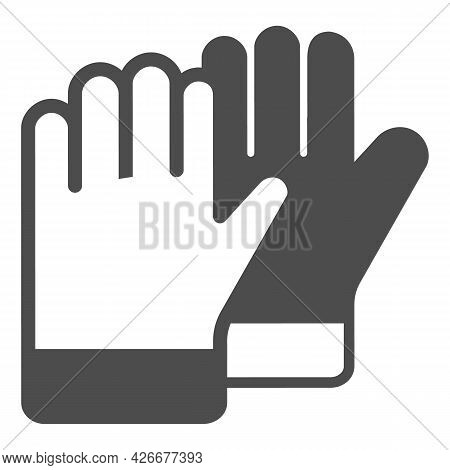 Protective Gloves Solid Icon, Construction Tools Concept, Construction Safety Gloves Vector Sign On