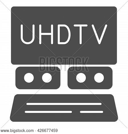 Uhdtv System Solid Icon, Monitors And Tv Concept, Ultra High Definition Television Vector Sign On Wh