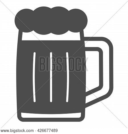 Glass Of Beer Solid Icon, Bar And Brewery Concept, Beer Mug Jar Vector Sign On White Background, Gly