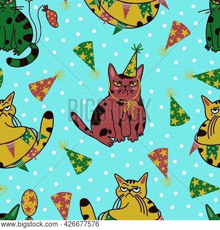 Grumpy Cats Seamless Vector Pattern. Sad Multicolored Animals Celebrate Their Birthday. Arrogant Kit